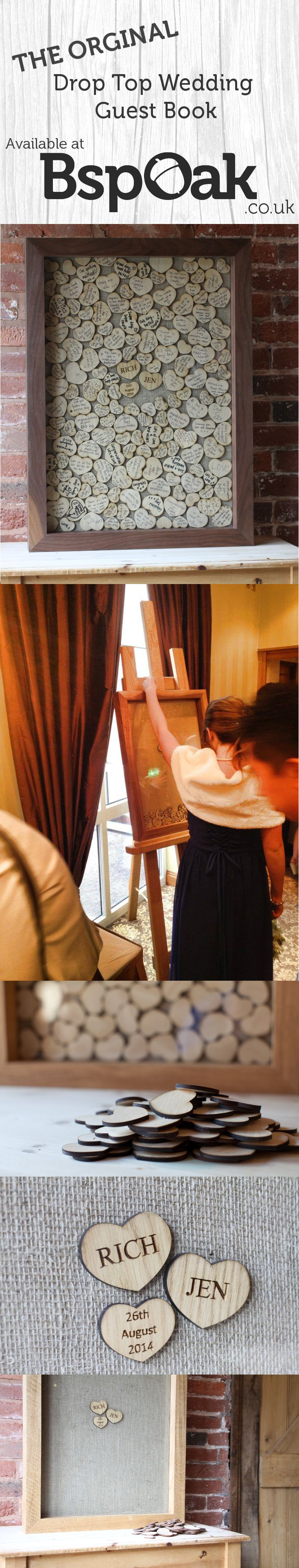 Inspired by the old fairground two penny slot machine, the Drop Top Guest Book is our modern twist on the traditional guestbook, a must have at any wedding celebration. Displayed in the reception venue, each guest is invited to write their special message onto a wooden heart and then post it into the guest book through a slot at the top. Once posted each heart falls down and creates a one of a kind, work of art to be displayed in your home after your special day. £270 #Wedding #Guestbook