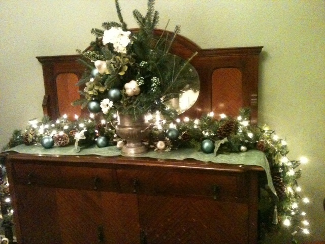 urn decorated sideboard