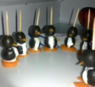 My Dream Kitchen : Recipe Box : Olive Penguins with Cream Cheese
