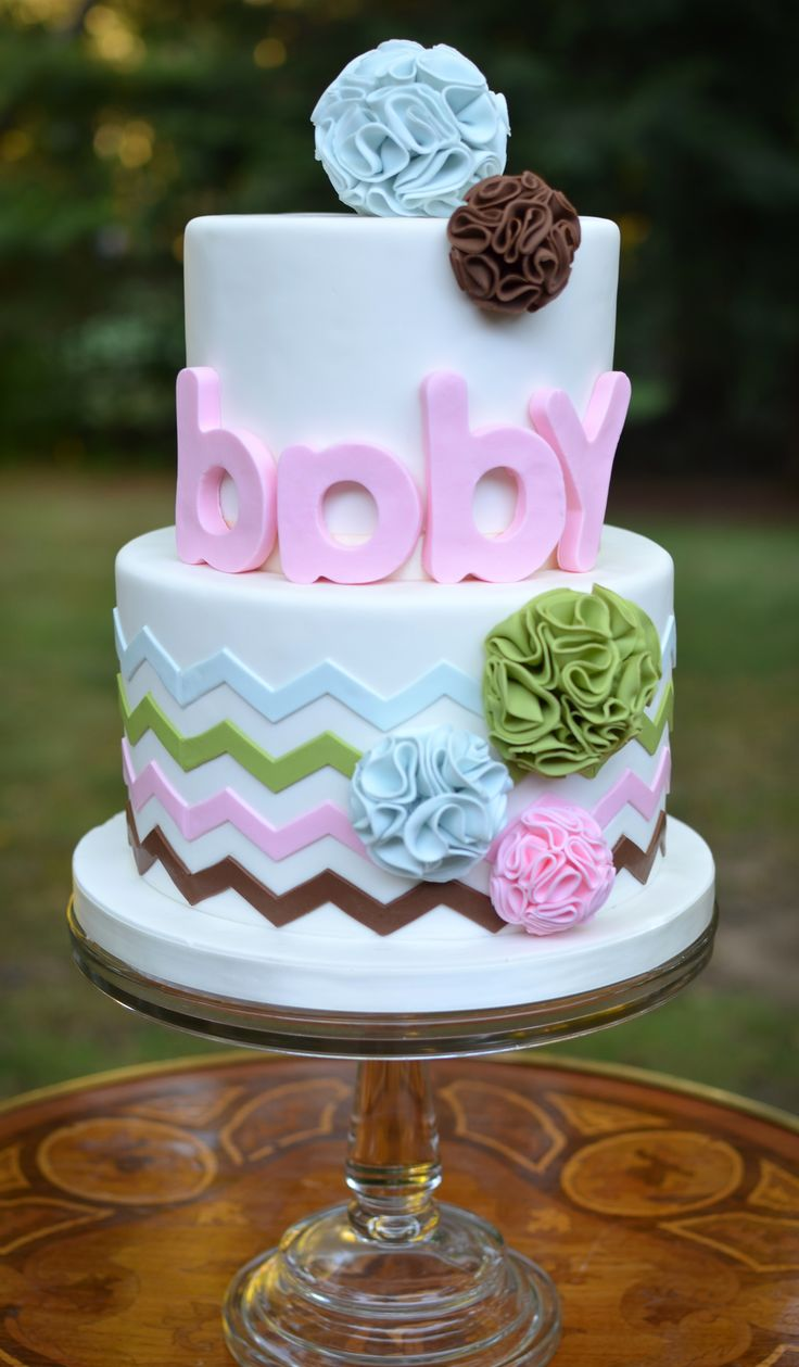 Baby Shower - Pom pom and chevron baby shower cake in modern color range. (just turn the 'a' around!)