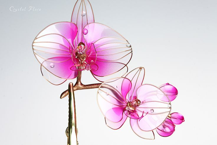 веточка Орхидеи / a sprig of Orchids (Crystal Flora, hair accessory, kanzashi, of synthetic resin and wire, American flowers, it is not kanzashi by Sakae, luxury jewelry, wedding decorations, wedding flowers, transparent flowers)