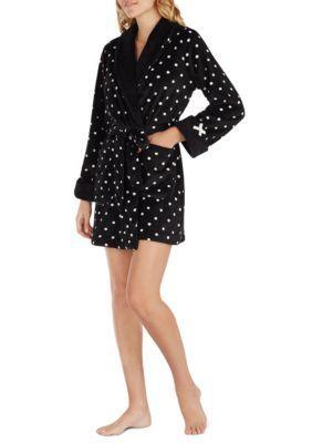 Kate Spade New York Women's 11-Plush Dot Robe - Black Dot - Xs/S
