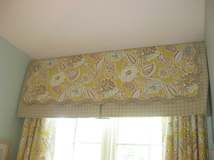 Scalloped, over-size overlay framed by checked valance I Lisa Hood at First Fruit Collection in Collierville, TN
