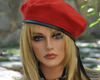Red Beret, French Beret, French Army Beret, Men's Beret, Ladies Red Hat, Women's Winter hat, Casual Hat, Sporty Hat, Red Winter Hat, Beret