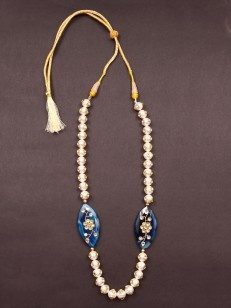 White Pacchi Work Pearl with Blue Stone Necklace - Buy White Pacchi Work Pearl with Blue Stone Necklace Online