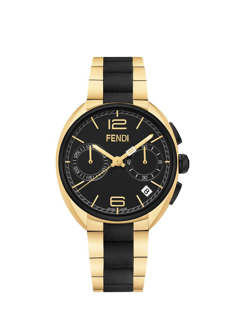 Fendi Timepieces unveils the new Momento Fendi Black and Gold edition. The combination of rich black and luxurious gold is classic but with an innovative sense of modern style. Explore this elegant unisex collection at your nearest Fendi store.