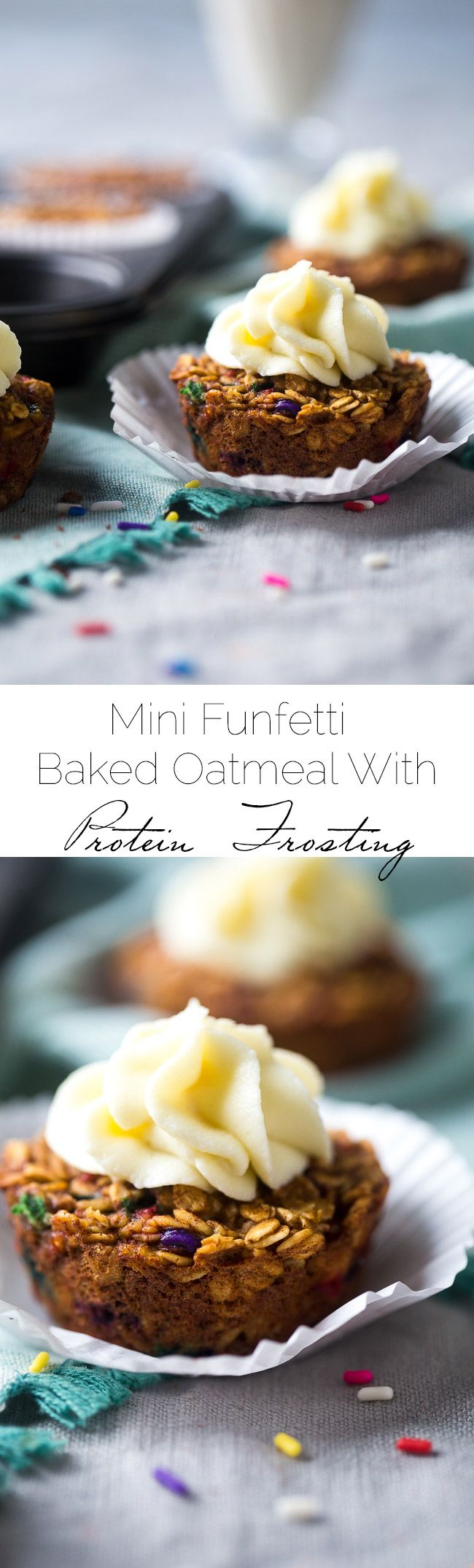Mini Funfetti Baked Oatmeal Cupcakes - Made with Greek yogurt and protein powder for a healthy, portable breakfast that is oil and sugar free! Great for kids! | Foodfaithfitness.com | @FoodFaithFit