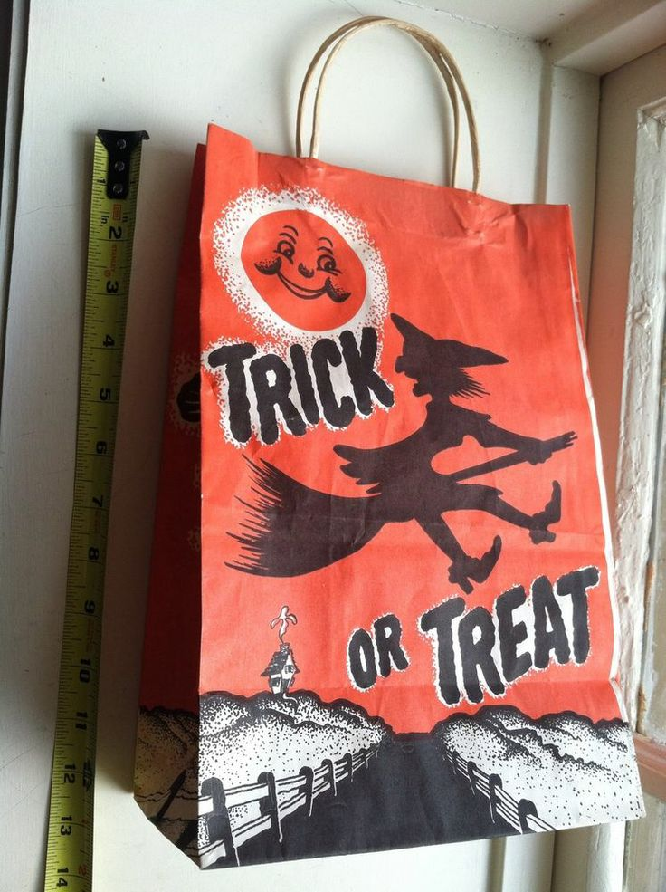 Vintage Paper Halloween Trick Or Treat Bag Witch Moon Jack O Lantern Skeleton