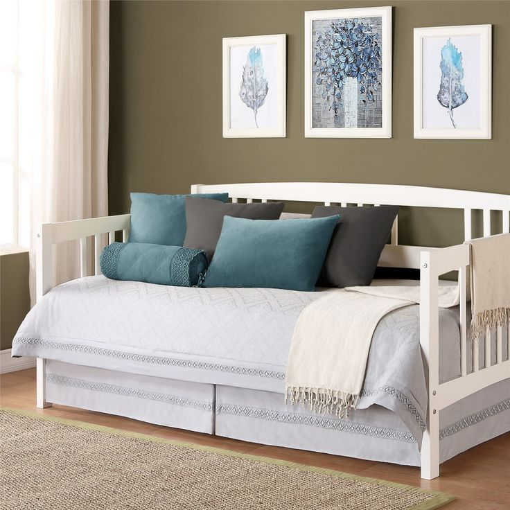 White Double Bed Eye Catching White Wooden Beds For Sale Modern With Polish Wood Theme And Resort Blue Bedding Set On It Hemnes Daybed, Innovative Eye Catching White Wooden Daybed With Sweet Theme: Furniture