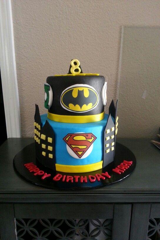 Superman and batman cake
