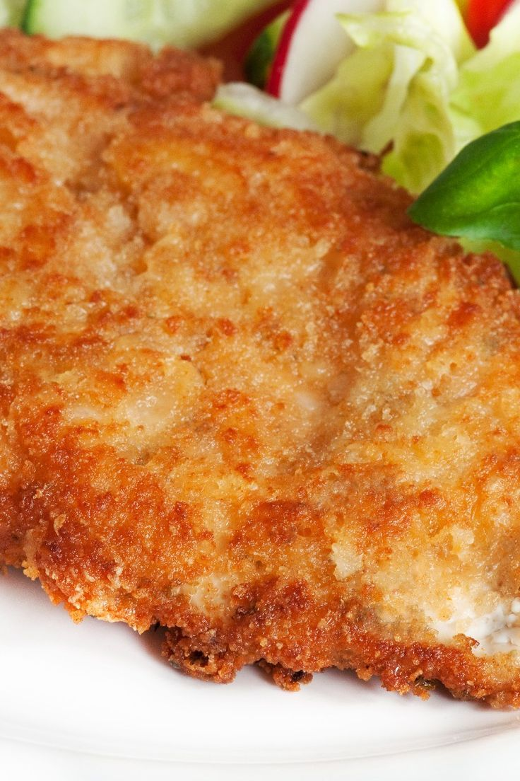 Easy and Delicious Ranch Parmesan Chicken 6 boneless chicken breast 1 cup dry bread crumbs, (even better, use panko breadcrumbs) 1⁄4 cup (up to 1/3) parmesan cheese 1 tsp seasoning salt 1⁄2 tsp (up to 1) black pepper, ground 1⁄2 tsp (up to 1) garlic powder 1 cup prepared ranch salad dressing, (use bottled salad dressing) 1⁄4 cup butter, melted (no substitutes), 30-35 min @ 400 degrees