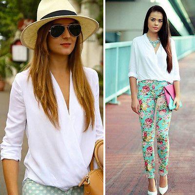 2015 Fashion Women Summer Loose Casual Chiffon Long Sleev Tee Shirt Tops Blouse