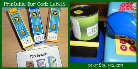 Free #printable bar codes for your dramatic play grocery store via www.pre-kpages.com #preschool #play