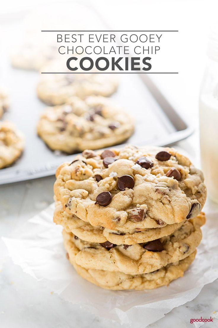 Best Ever Gooey Chocolate Chip Cookies | Soft, chocolatey, and delicious, these are the Best Ever Gooey Chocolate Chip Cookies. Chewy chocolate chip cookies that put all others to shame, these are filled with delicious, rich chocolate and topped with sea salt to make your taste buds go wild. #cookies #chocolatechipcookies