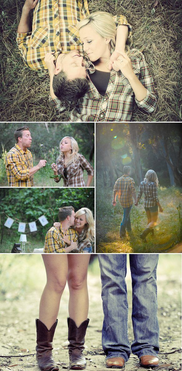 Plaid shirts! engagement picture
