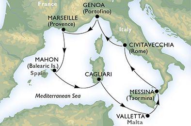 Itinerariu croaziera Marea Mediterana  cu MSC ARMONIA