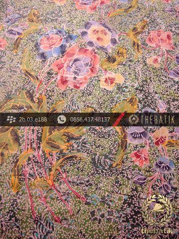 Kain Batik Pesisiran Motif Buket Hijau Ungu | Indonesian Batik Fabric Pattern Design http://thebatik.co.id/kain-batik-bahan/