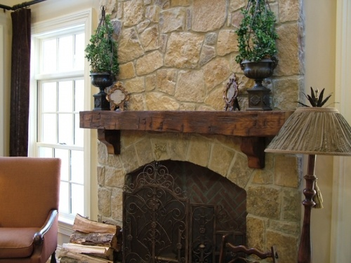 Rustic mantel for stone fireplace at diggerslist.com