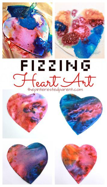 Fizzing baking soda and vinegar heart paint eruptions. Science and art fun for kids perfect for Valentines Day or any time. Also great for fine motor skills. Arts and crafts activities for kids & toddlers.