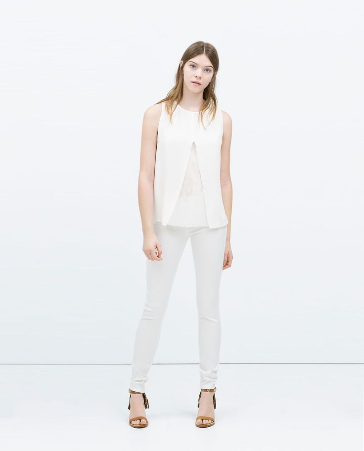 Image 1 of DOUBLE LAYER PLEATED TOP from Zara