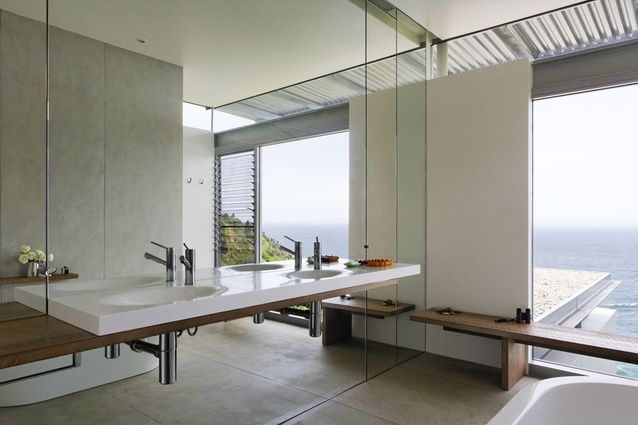 Mirror, basin, flooring (Cemintel - Barestone) | Architecture Saville Isaacs - Clifton House