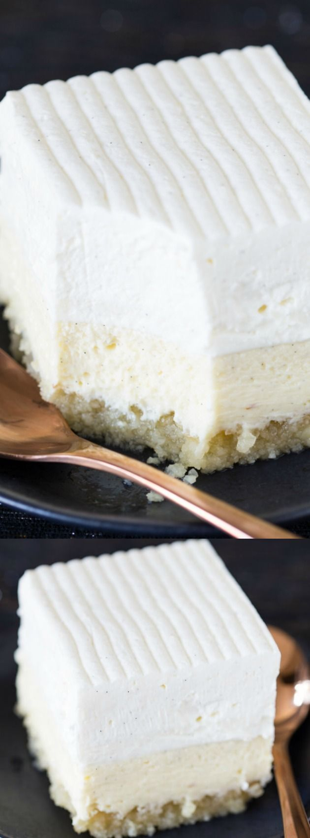 This Vanilla Bean Cheesecake recipe from Willow Bird Baking is a vanilla lover's dream come true! With it's buttery macadamia nut crust, creamy vanilla bean cheesecake, tangy sour cream topping, and fluffy vanilla bean whipped cream mousse watch out — because everyone will come back for seconds!