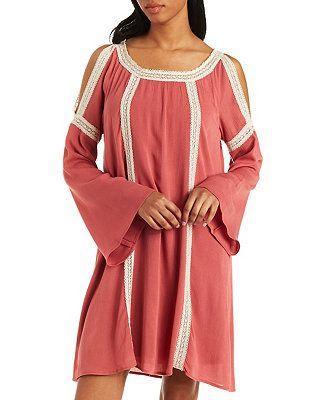 Crochet-Trim Cold Shoulder Dress: Charlotte Russe