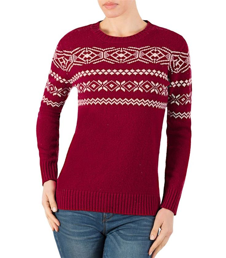 Womens Lambswool Fair Isle Crew Neck Jumper