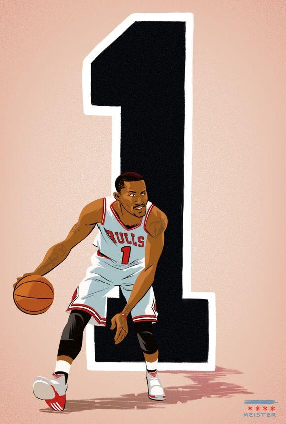 Derrick Rose '1' Illustration