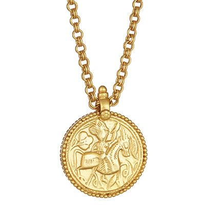 "Coin Pendant 39"" Necklace 24K Gold Plate by Julie Vos"