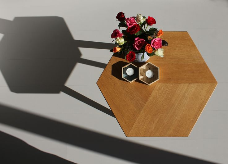 The oak version of coffee table solid wood in use, seen from above. Design by Romy Kühne