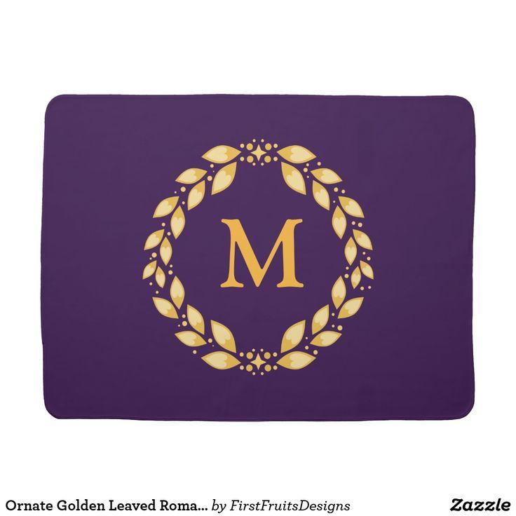 Ornate Golden Leaved Roman Wreath Monogram -Purple Stroller Blanket An ornate monogram of golden leaves - roman, art deco style - with your personal monogram inside! Elegant and classy.