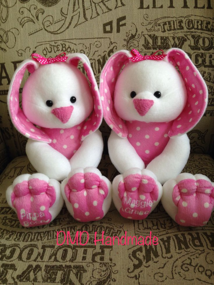 Twin Bunnies for Twin girls..  Handmade by me, Pattern by Funky Friends Factory
