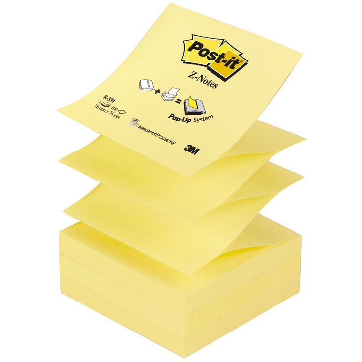 Post-it® Z-Note-klistrelapper, 76 x 76 mm, Canary Yellow™, 12 blokker med 100 ark, R330