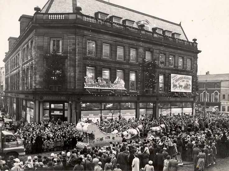 Christmas parade outside the Co-op store, Bolton, 1960's
