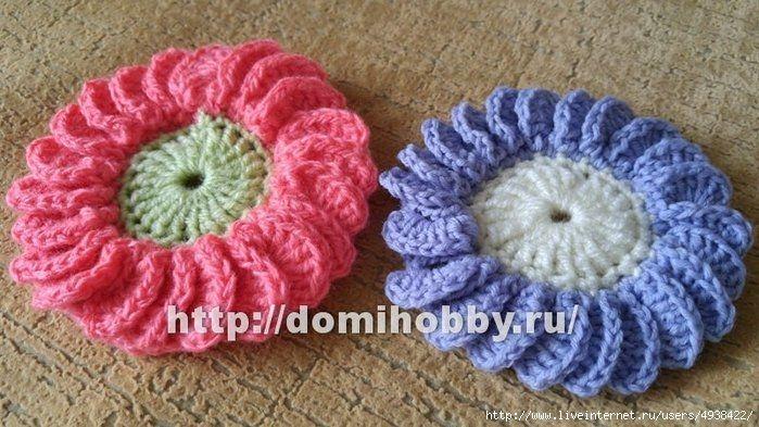 Цветок с пышными лепестками крючком