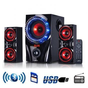 BEFREE SOUND beFree Sound 2.1 Channel Surround Sound Bluetooth Speaker System in Red