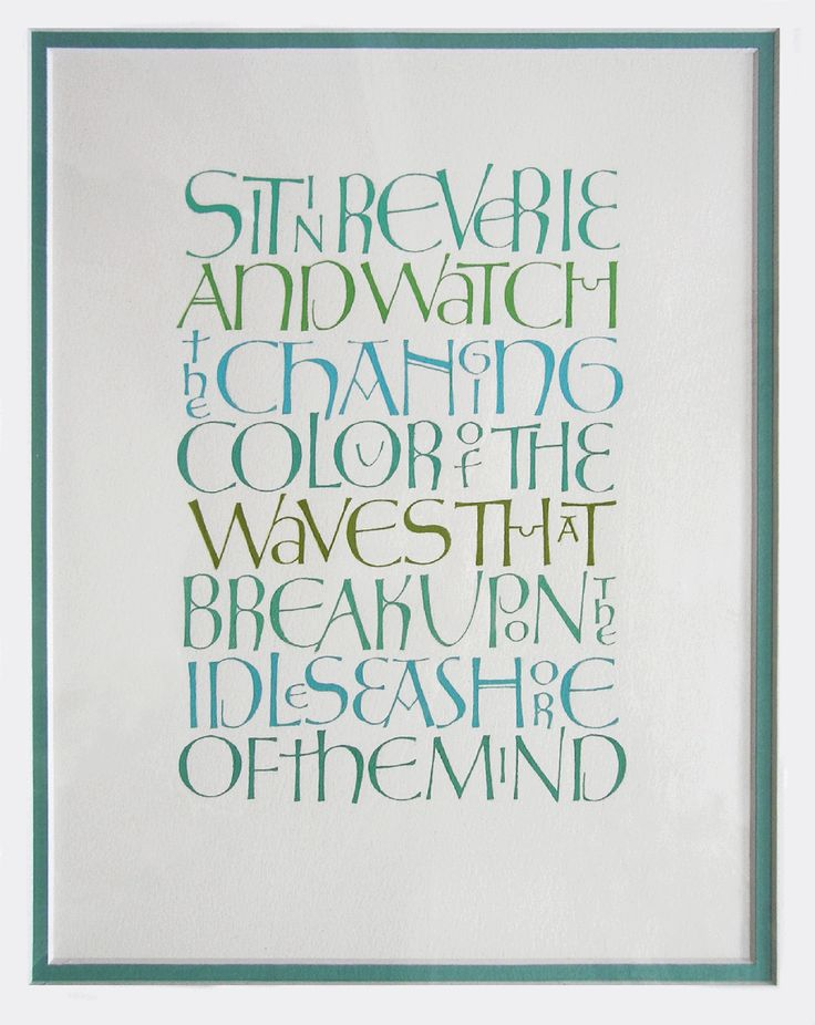 """""""Blue"""" Calligraphy work of Gillian Hazeldine-really fascinating and lovely way to justify both edges."""