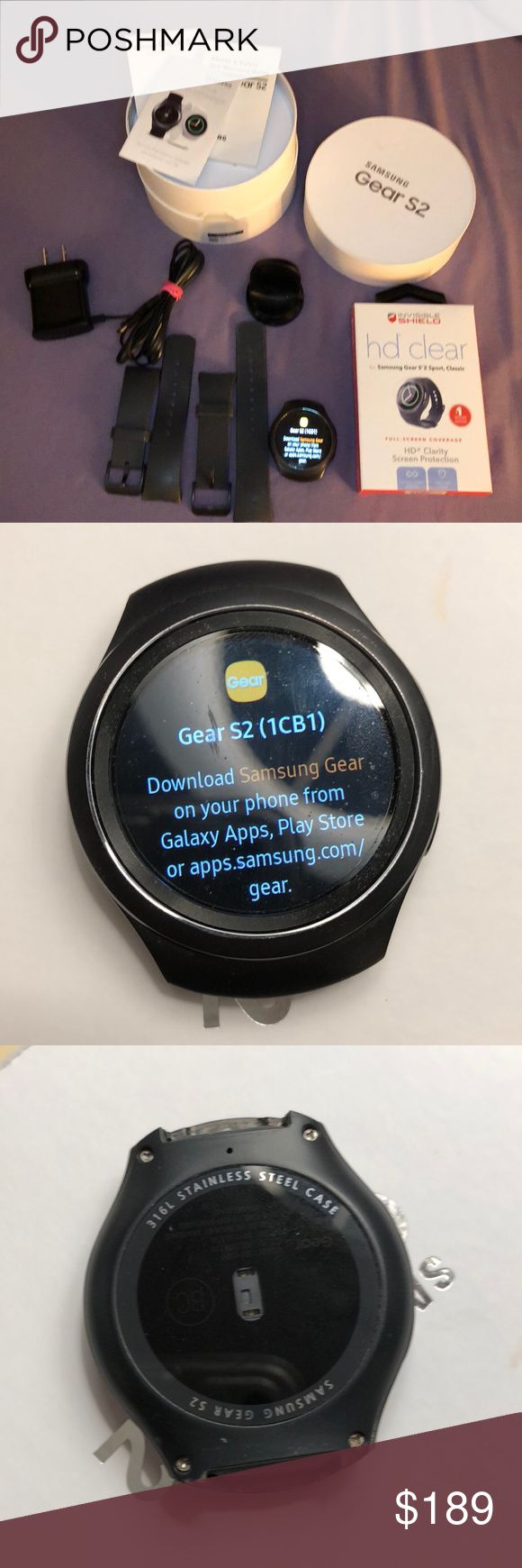 Samsung Gear S2 Sport Classic Watch Dark Grey Samsung Gear S2 2015 sport watch w/ large and small watchbands. I only used it for 3 months and switched to an IPhone so it's gently used. It's compatible with select Android 4.4 and later devices with 1.5GB RAM. Wireless charging, certified dust and water resistant, Bluetooth 4.1 and Wi-Fi compatible too. Including spare Zagg screen protector. Samsung Accessories Watches