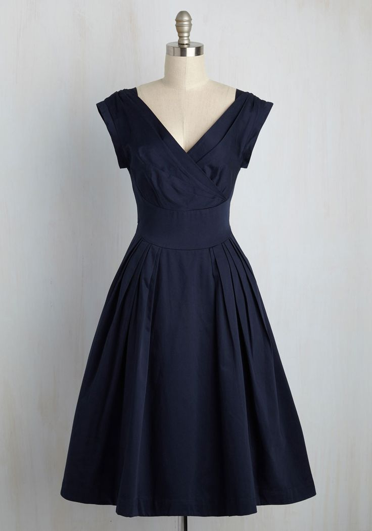 Keener Postures Midi Dress In Navy By Emily And Fin Blue