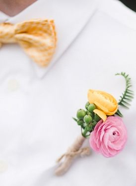floral, boutonniere, Summer, diy, Pennsylvania- pink and white instead of pink and yellow. with striped ribbon