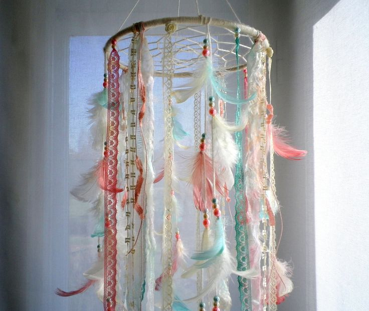 Baby girl mobile dream catcher mobile ivory coral mint mobile boho nursery dreamcatcher mobile, crib mobile, feather mobile baby shower gift by LigitasWorkshop on Etsy https://www.etsy.com/listing/524042925/baby-girl-mobile-dream-catcher-mobile