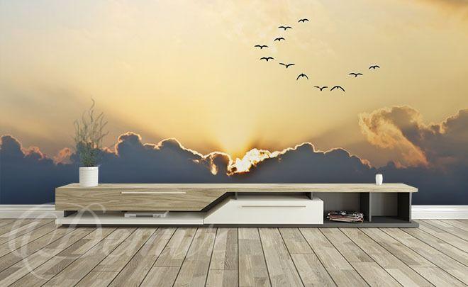 Ptaki-lecace-ku-zachodowi-niebo-fototapety-demur