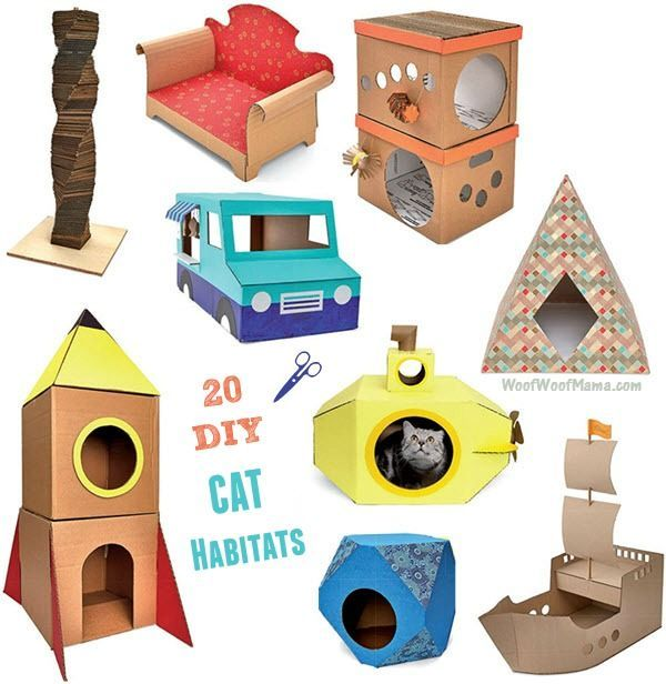 Looking for a great gift book for cat lovers or want to treat your own fancy feline to a new abode? Grab a copy of DIY Cat Castles: 20 Cardboard Habitats You Can Build Yourself and learn how to build homemade habitats with easy instructions and common materials. Shoeboxes and paper bags are fine for other cats. But your favorite felines deserve luxurious living spaces! This DIY construction guide includes fun and easy instructions for making cardboard trains, ships, food trucks, rockets…