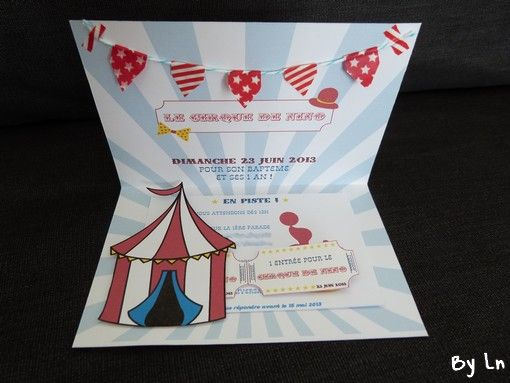 un faire part invitation de bapteme et 1 an sur le th me du cirque invitation anniversaire. Black Bedroom Furniture Sets. Home Design Ideas