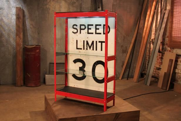 After: Clever Shelving Unit One thorough cleaning later, this speed limit sign was made into a standout lighted shelving unit.
