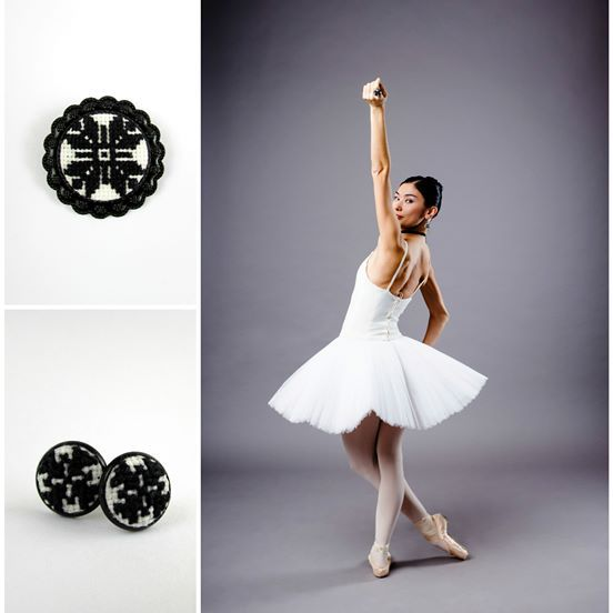 Brooch / On the tips of pointe shoes/  Black and white/ Ballet /Opera/ Beautiful decoration/ Hand embroidery/ Best gift/ Surprise/ Еmbroidery- 2,2 sm 280,00 UAH