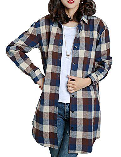da4a3f758c983 New Gihuo Women s Casual Mid-Long Boyfriend Long Sleeve Loose Button Down  Plaid Shirt Women