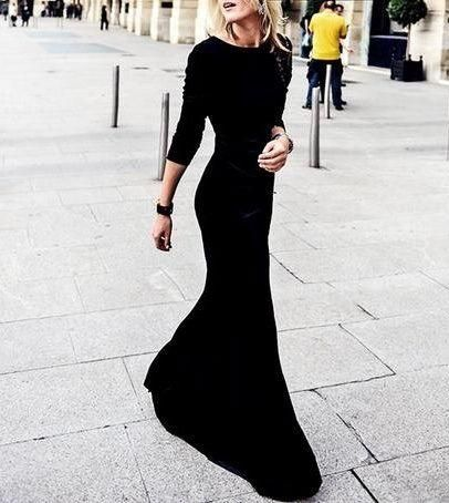 Dress Shop Hot Sale Black Evening Dress Long Sleeves Scoop Neck Fitted Modest Prom Gowns Women Simple Formal Dresses Evening Dress Online Shop From Adminonline, $86.91| Dhgate.Com