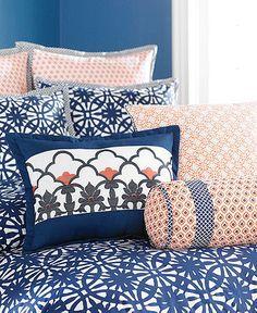 coral and indigo blue bedroom